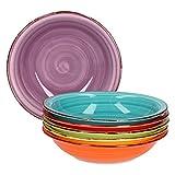 MamboCat 6-TLG. Lot de Assiettes Creuses en Porcelaine Multicolore 750 ML