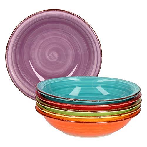 Service d'assiettes creuses 6 pièces Assiettes creuses unies colorées Assiettes de service 750 ml Vaisselle de table bol à muesli buffet à salade Plats en grès résistant au fou
