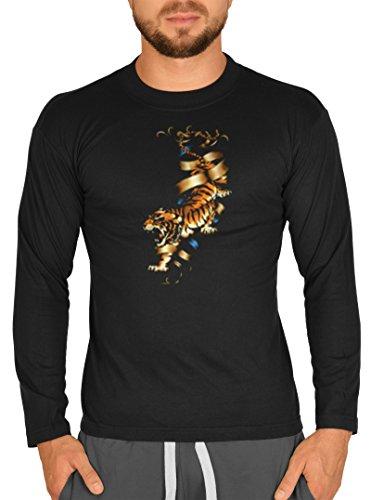 Biker Hemd - Hot Tiger - Langarm-Shirt für echte Kerle Schwarz