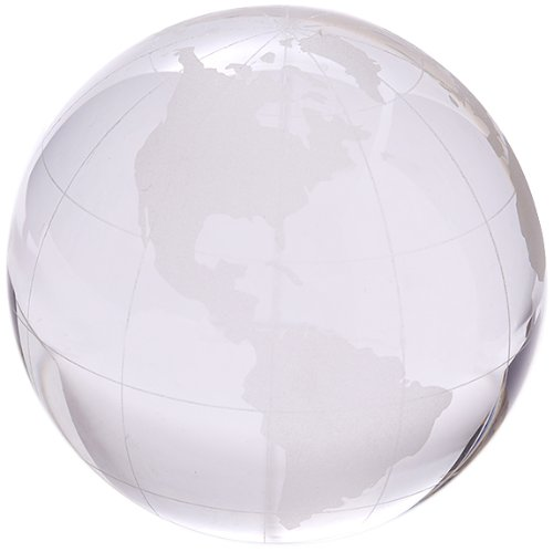 Glass Globe Paperweight or Trophy - World Globe Map