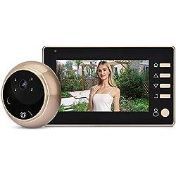 ASHATA Sonnette Video, caméra de Porte vidéo LCD de 4,3 Pouces 1MP HD LCD Caméra de Judas numérique, kit de Sonnette vidéo pour caméra de sécurité avec caméra de sécurité de Nuit
