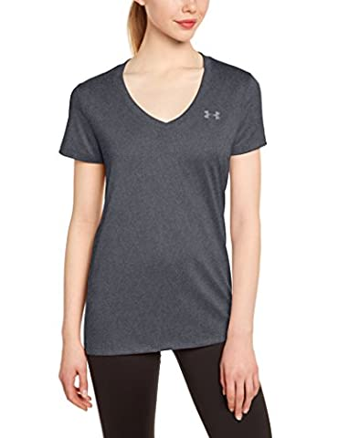 Under Armour Women's Tech V-Neck Solid Short-Sleeve Shirt - Carbon Heather, X-Large