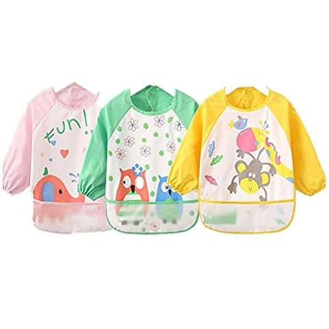 Sohv Unisex Kids Childs Arts Craft Painting Apron Baby Waterproof Bibs with Sleeves&Pocket, 6-36 Months,Light pink,Set of 3