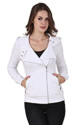 TEXCO WINTER COTTON POLYSTER FLEECE HOODED WHITE STYLEST JACKET (Large)