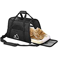 Terra Hiker Katzentragetasche, Katzentransporttasche, Tragetasche Transportbox für Haustier Hunde und Katzen (Schwarz, 5-8 KG)