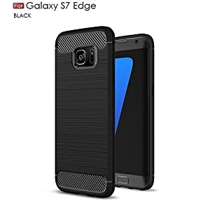 WOW Imagine Armour Series Shock Proof Carbon Fibre Brushed Texture TPU Phone Back Case Cover for Samsung Galaxy S7 Edge(Black)