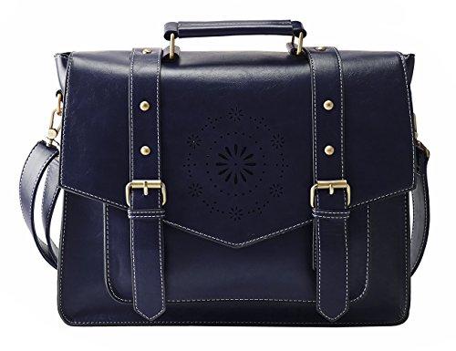"""ECOSUSI Umhängetasche Damen Vintage Laptoptasche 14.7\"""" Schultertaschen Arbeitstasche Handtasche Blau"""