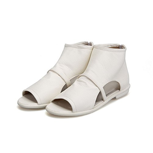AllhqFashion Damen Weiches Material Rein Reißverschluss Niedriger Absatz Sandalen Weiß