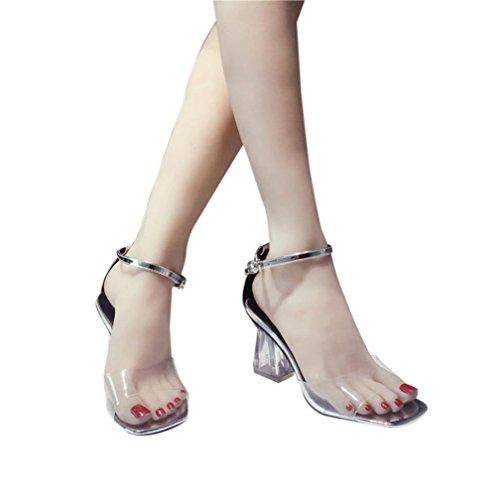 parenten Heel Sandal Heels Kristall Schuhe Mode Frauen Transparente Sandalen Ankle High Block Party Offene Spitze (36, Silber) (Ein Anderes Wort Für Die Halloween-party)