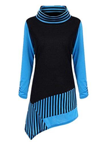 BESTHOO Donna Slim Fit Collo Rotondo Manica Lunga Alta Colletto T-Shirt Camicia Righe Casual Camicetta Maglietta Lunga Orlo Irregolare Blue