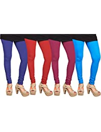 CAY 100% Cotton Combo of SkyBlue, Red, Blue and Dark Pink Color Plain, Stylish & Most Comfortable Leggings For Girls & Women with Full Length (SIZE : Free Size)
