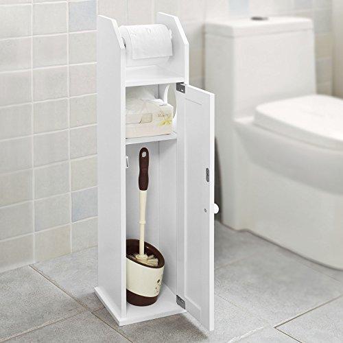 Sobuy® frg135-w,piantana portarotolo e portascopino 2 in 1, mobile bagno, bianco, it