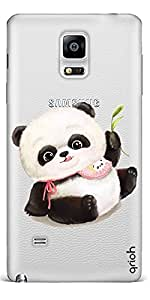 Qrioh Printed Designer Back Case Cover for Samsung Note Edge - Cute Panda With Scarf Transparent Case