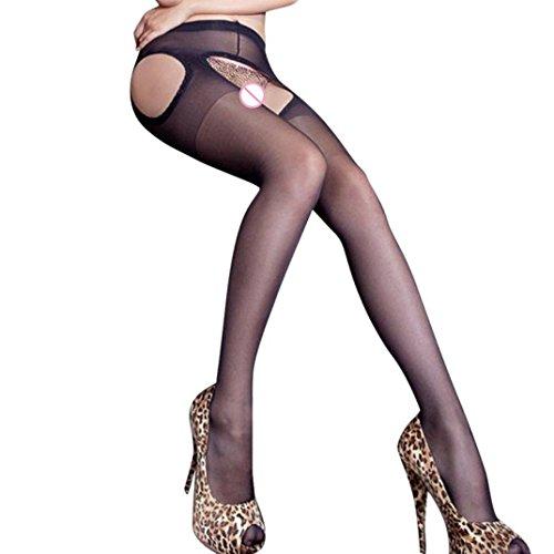 *FORH Damen Sexy Strümpfe Erotic Strapsgürtel Strumpfhosen verlockend Exposed Cross Open Oberschenkel Stockings Soft Elastizität Strümpfe Strumpfhosen (Schwarz B)*