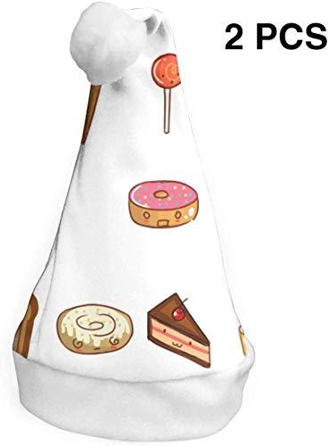 YudoHong Weihnachtsmützen 2er Pack Cute Cartoon Food Weihnachtsmützen Kostüm Classic Hut für Kinder / Erwachsene (Cute Food Kostüm)