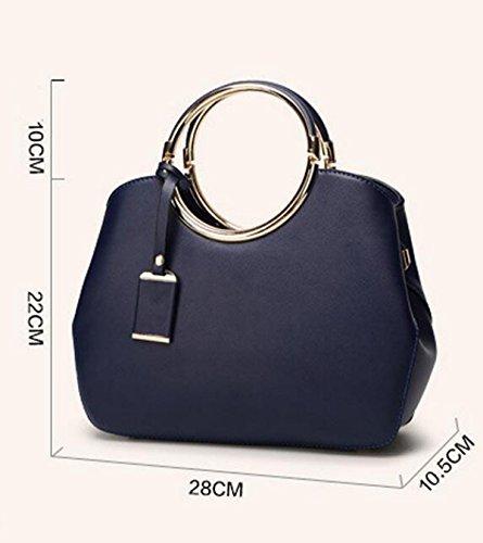 Wearable Wasserdichte Runde Metall Griff Tasche Schultertasche Einfache Kleine Runde Tasche White