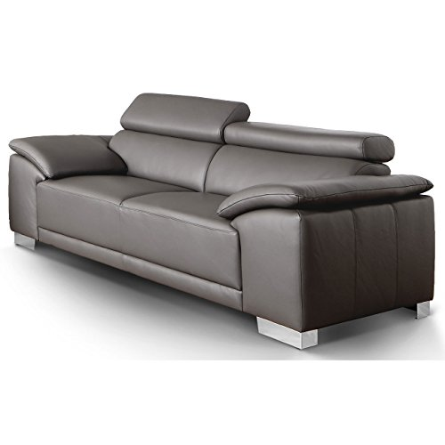 Designer Sofa Amalfi mit Chrom-Füße verstellbare Lehnen, XL Couch
