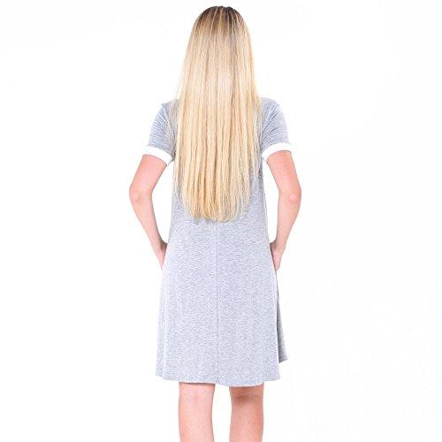 Damen Baumwolle Sommerkleider IHRKleid® Kurzarm Kleid Rockabilly kleid  Stitching Bump Color Pocket Pleated Kleid Hellgrau