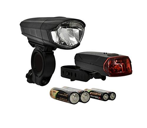 "Büchel Batterie-lampen Set Front ""Melbourne"" 30/15 Lux + LED Rücklicht Flat 51252515, schwarz, One Size"