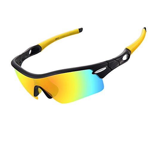 Ewin E02 occhiali sportivi occhiali da sole polarizzati, 5 lenti intercambiabili per donne uomini in bicicletta di guida in bicicletta Pesca Golf e altre attività all'aperto (Nero&Giallo)