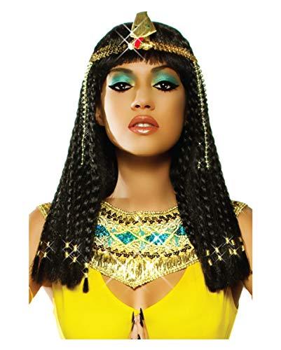 Horror-Shop Schwarze Kleopatra Zopf Perücke Deluxe für Ägypterin -