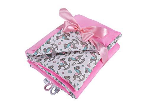 EliMeli Babydecke Kuscheldecke Krabbeldecke 75x100 super weichem Minky Polar Fleece   100% Baumwolle   Füllung   hoch Qualität   Plüschdecke perfekt für Babys (Pink - Horses)