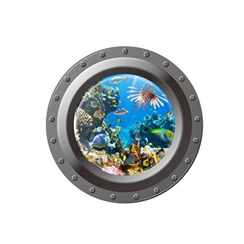 Jamicy® Wandtattoo, fantastischen u-Boot-Bullaugen Fisch Unterwasser Welt Wand Aufkleber Home Decor (C)