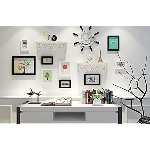 X&L Estilo mediterráneo marco de madera foto creativa pared combinación living comedor dormitorio pared decoración escenario , white black