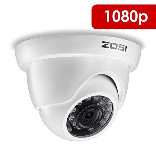 ZOSI CCTV 2.0 Megapixel HD 1080P TVI Außen Weiß Dome Video Überwachungskamera Sicherheitskamera, 20m IR Nachtsicht, NUR kompatibel mit 1080P TVI DVR (1080p überwachungskamera Dome)