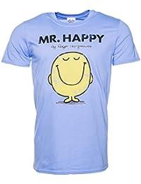 Mens Blue Mr Happy Mr Men T Shirt