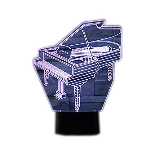 Ahat Romantische 3D Led Illusion Tisch Schreibtisch Deko Lampe 7 Farben ändern Nacht Licht für Schlafzimmer Home Decoration, Hochzeit, Geburtstag, Weihnachten und Valentine Geschenk(Klavier)