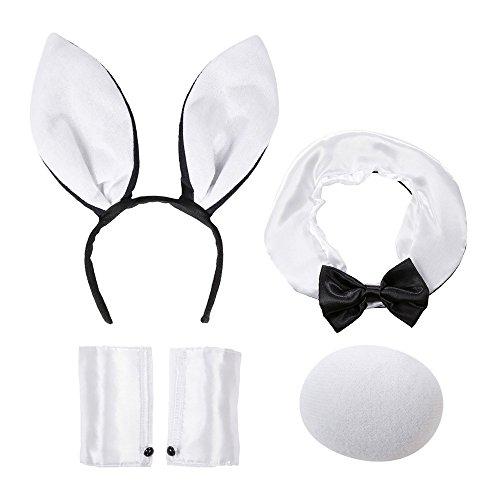 Widmann 8564B - Kostümset Bunny im Netz, Haarreif mit Ohren, Kragen, Manschetten und Schwanz, - Schwarze Hasenohren Kostüm