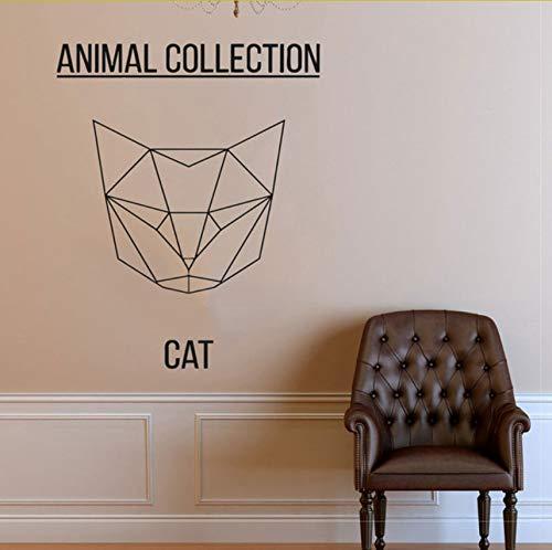 Lvabc Geometrische Katze Kopf Vinyl Aufkleber Aufkleber Abstrakte Feline Wandaufkleber, Kitty Art, Katze Meme, Tierkunst, Haustier Wand Aufkleber 47X42Cm