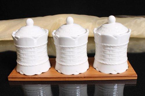 3er Bambus Porzellan Menageset Gewürz Set mit Tablett Küchenhelfer Gewürzmenage