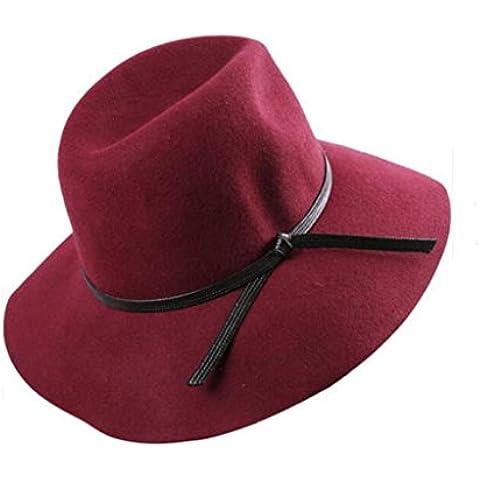 WE&ZHE Cappello di feltro di lana ampia tesa Bowler Fedora moda viaggi elegante Retro cappello femminile britannico stile elegante autunno e inverno , deep red