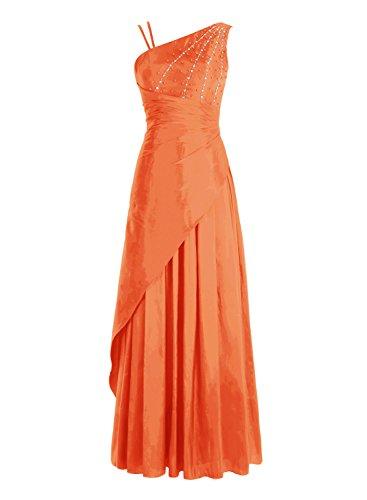 Bbonlinedress Robe de cérémonie Robe de bal emperlée en satin épaule asymétrique longueur ras du sol Orange