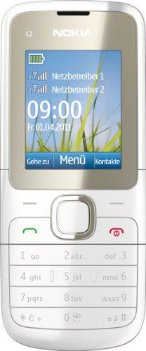 Nokia Nokia C2-00 Handy (Dual-Sim Handy, 4,6 cm (1,8 Zoll) Display, Bluetooth, MP3, E-Mail, VGA Kamera) weiß