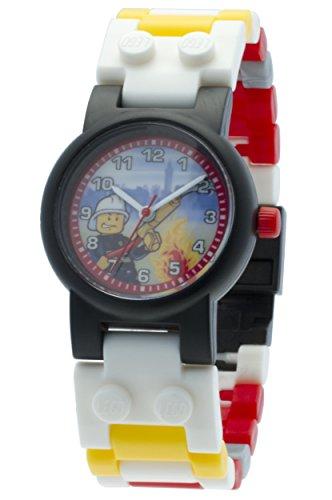 LEGO City 8020011 Feuerwehrmann Kinder-Armbanduhr mit Minifigur und Gliederarmband zum Zusammenbauen,rot/gelb,Kunststoff,analoge Quarzuhr,Junge/Mädchen,offiziell