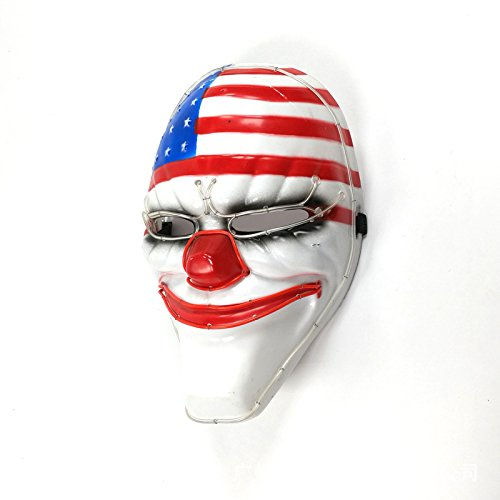 LMYG Leuchtende Maske, Clown Leuchtende Maske EL Kaltlicht Party Maske Halloween Maskerade Maske Dekoration Festival Cocktail Party Tanz,Ordinary