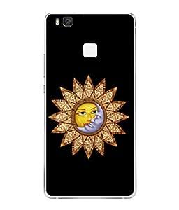 PrintVisa Designer Back Case Cover for Huawei P9 Lite (Sun Moon Hug Kiss Chakra Image of Lovers)