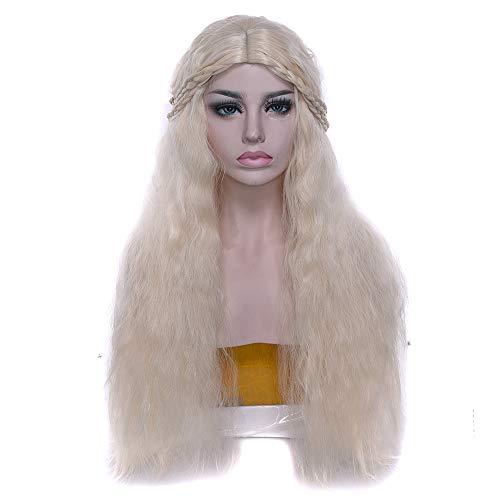 Targaryen Daenerys Dragon Kostüm - I TRUE ME Frauen Mädchen weiß Lange Blonde lockige Königin Haar Halloween Daenerys Targaryen Kostüm Cosplay Perücke
