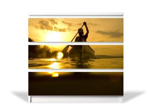 für Ikea Malm Kommode mit 3 Schubladen / Möbelaufkleber 3-teilig ca. 80x78cm / Möbelsticker selbstklebend mit Motiv Kanu (Kanu-dekor)