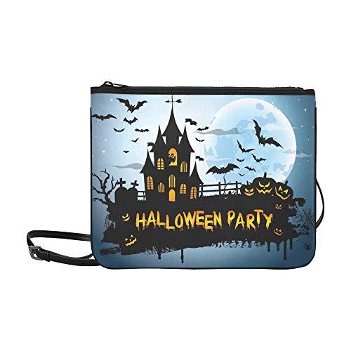 WYYWCY Halloween Night Picture Creepy Castle Benutzerdefinierte hochwertige Nylon Slim Clutch Crossbody Tasche ()