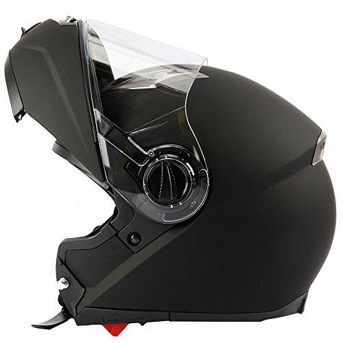 Mach1 Integralhelm mit integrierter Sonnenblende und Spoiler, Schwarz-matt Flip up, 59-60cm (L)