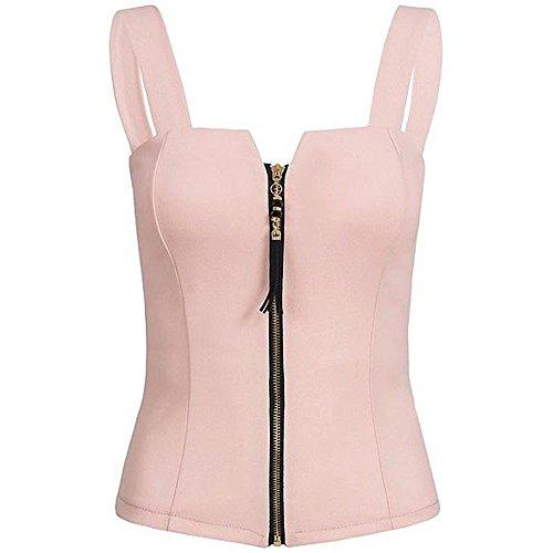 Zegeey Damen Camisole Tank Tops Off ShoulderT-Shirt Einfarbig ÄRmellos Tank Zipper Top Slim Fit T-Shirt Sommer Crop Tops Bluse (Rosa,EU-40/CN-L)