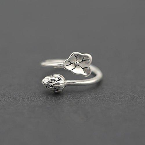&qq Anelli,anelli in argento sterling S925, fatti a mano, gioielli a forma di loto, misura regolabile, elegante, anello