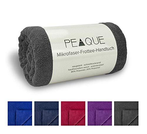 PEAQUE Mikrofaser Frottee Handtuch-Set XL, Dusch-tücher, Fitness-tücher, Sport-handtücher (Anthrazit blau, Grau-Navy, 80 x 160 cm, 2 x)