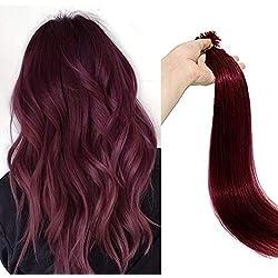 Extension Cheveux Naturel Kératine Extension A Chaud Lisse 100 Mèches [1g/Mèche] Pre-Bonded Nail U Tip Rajout Cheveux Mèche Kératine - #99J Vin Rouge - 20 Pouces