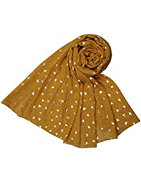 Mustard and Silver Shimmer Butterflies Scarf Ladies Fashion Scarves
