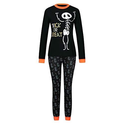 K-Youth Conjunto de Familiares Ropa De Dormir Pijama Familia Pijama de Halloween Esqueleto Camisetas Manga Larga Mujer Hombre Bebé Niño Niña Traje De Halloween Disfraz (Mujer Negro, S)